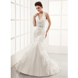 Mermaid Halter Court Train Satin Tulle Wedding Dress With Lace Beadwork (002012139)