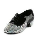 Men's Kids' Patent Leather Flats Latin Ballroom Salsa Wedding Party With Rhinestone Dance Shoes