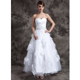 A-Line/Princess Sweetheart Ankle-Length Organza Tulle Wedding Dress With Beading Appliques Lace Flower(s)