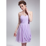 Sheath Sweetheart Knee-Length Chiffon Homecoming Dress With Ruffle