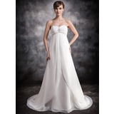 Empire Sweetheart Court Train Chiffon Wedding Dress With Ruffle Beading