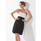 Sheath Sweetheart Knee-Length Taffeta Bridesmaid Dress With Ruffle