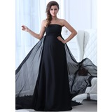 Empire Strapless Chapel Train Chiffon Holiday Dress With Ruffle
