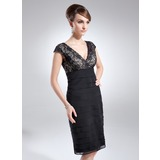 Sheath V-neck Knee-Length Chiffon Lace Cocktail Dress With Ruffle (016008240)