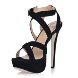 Suede Stiletto Heel Sandals Platform With Buckle shoes (087015245)