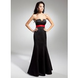 Empire Scalloped Neck Floor-Length Satin Evening Dress With Sash Bow(s)