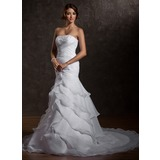 Mermaid Strapless Court Train Organza Wedding Dress With Ruffle Beadwork Sequins
