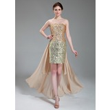 Sheath/Column Strapless Asymmetrical Chiffon Satin Sequined Prom Dress With Beading