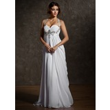 Empire Sweetheart Sweep Train Chiffon Wedding Dress With Ruffle Beadwork (002011570)