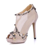Velvet Fabric Stiletto Heel Sandals Platform Peep Toe Ankle Boots With Rhinestone Zipper shoes
