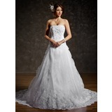 Ball-Gown Strapless Chapel Train Organza Satin Wedding Dress With Ruffle Lace Beadwork (002011556)