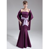Trumpet/Mermaid Strapless Floor-Length Satin Bridesmaid Dress With Sash Crystal Brooch