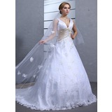 Ball-Gown V-neck Chapel Train Satin Lace Wedding Dress With Sash Beadwork