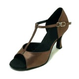 Women's Satin Sandals Latin Ballroom With T-Strap Dance Shoes