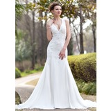 Mermaid Halter Chapel Train Chiffon Wedding Dress With Ruffle Lace Beadwork (002012033)