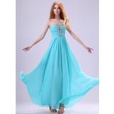 A-Line/Princess Scalloped Neck Floor-Length Chiffon Organza Evening Dress With Ruffle Beading