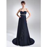 Empire Sweetheart Court Train Chiffon Mother of the Bride Dress With Ruffle Beading