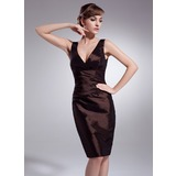 Sheath V-neck Knee-Length Taffeta Bridesmaid Dress With Ruffle (007004218)