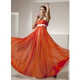 Empire Square Neckline Floor-Length Chiffon Charmeuse Holiday Dress With Ruffle Sash