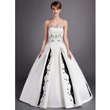 Ball-Gown Sweetheart Chapel Train Satin Wedding Dress With Embroidered Beading Sequins