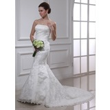 Mermaid Strapless Chapel Train Satin Lace Wedding Dress With Beadwork (002000487)