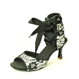 Women's Lace Sandals Latin With Ankle Strap Dance Shoes