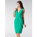 Sheath V-neck Knee-Length Chiffon Holiday Dress With Ruffle