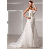 Empire Strapless Court Train Organza Satin Lace Wedding Dress