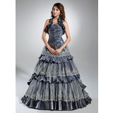 Ball-Gown Halter Sweep Train Taffeta Organza Quinceanera Dress With Ruffle Lace