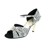 Leatherette Heels Sandals Latin Dance Shoes With Rhinestone