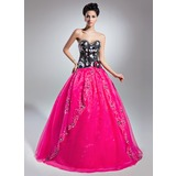 Ball-Gown Sweetheart Floor-Length Organza Satin Quinceanera Dress With Beading Appliques Flower(s) Sequins