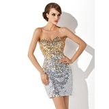 Sheath Sweetheart Short/Mini Sequined Cocktail Dress With Beading (016006691)