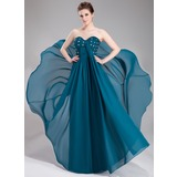 Empire Sweetheart Floor-Length Chiffon Lace Evening Dress With Ruffle Beading Sequins