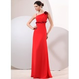 A-Line/Princess Floor-Length Chiffon Evening Dress With Sash Flower(s)