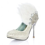 Women's Leatherette Stiletto Heel Closed Toe Pumps With Beading Feather Rhinestone Sequin