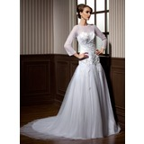 A-Line/Princess Scoop Neck Chapel Train Tulle Wedding Dress With Beading