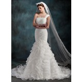 Mermaid One-Shoulder Court Train Organza Wedding Dress With Ruffle (002000623)