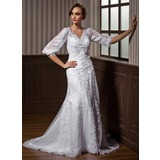 A-Line/Princess V-neck Court Train Satin Tulle Wedding Dress With Lace Beading