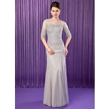 Mermaid Scoop Neck Floor-Length Chiffon Tulle Mother of the Bride Dress With Beading Sequins