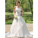 Ball-Gown Strapless Cathedral Train Organza Satin Wedding Dress With Ruffle Beading Bow(s)