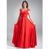 A-Line/Princess V-neck Sweep Train Tulle Satin Chiffon Bridesmaid Dress With Ruffle
