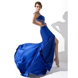 A-Line/Princess V-neck Sweep Train Charmeuse Prom Dress With Beading Sequins