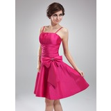 A-Line/Princess Knee-Length Taffeta Homecoming Dress With Ruffle Beading