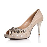 Real Leather Spool Heel Sandals Peep Toe With Rhinestone shoes