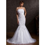 Mermaid Scalloped Neck Chapel Train Organza Satin Wedding Dress With Lace Sequins
