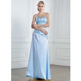 Sheath Sweetheart Floor-Length Satin Prom Dress With Ruffle Beading Sequins