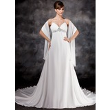 Empire V-neck Chapel Train Chiffon Wedding Dress With Ruffle Beading Sequins