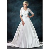 Ball-Gown V-neck Court Train Satin Tulle Wedding Dress With Ruffle Lace Sashes (002011615)