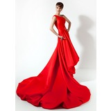 A-Line/Princess One-Shoulder Court Train Charmeuse Prom Dress With Beading (018020778)