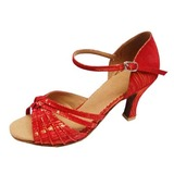 Women's Fabric Heels Sandals Latin Ballroom With Bowknot Dance Shoes